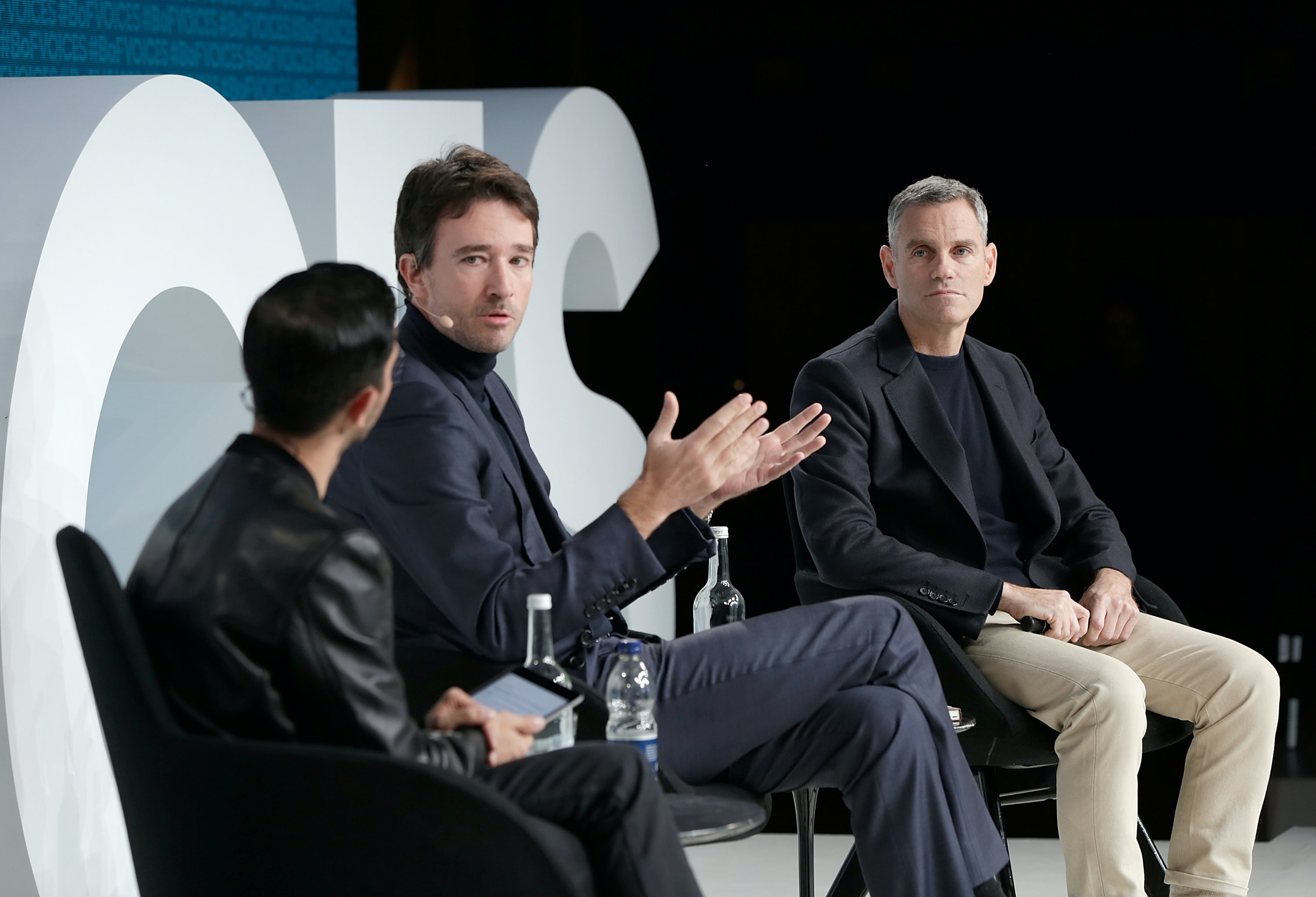 OXFORD, ENGLAND - DECEMBER 01:  (L-R) Imran Amed, Antoine Arnault and James Scully speak on stage during #BoFVOICES on December 1, 2017 in Oxford, England.  (Photo by John Phillips/Getty Images for The Business of Fashion )