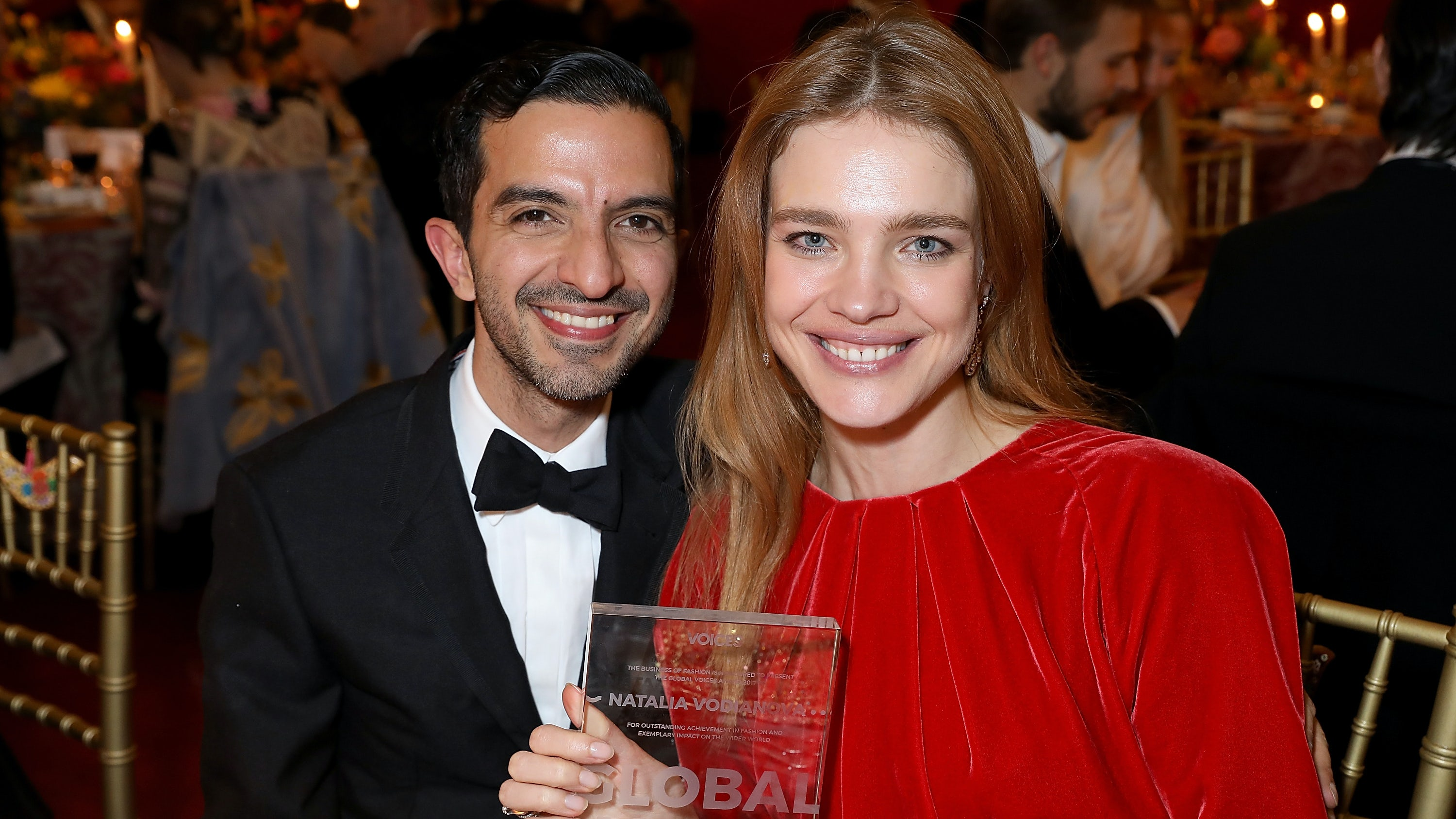 Imran Amed and Natalia Vodianova at the gala dinner during #BoFVOICES | Source: Darren Gerrish/Getty Images
