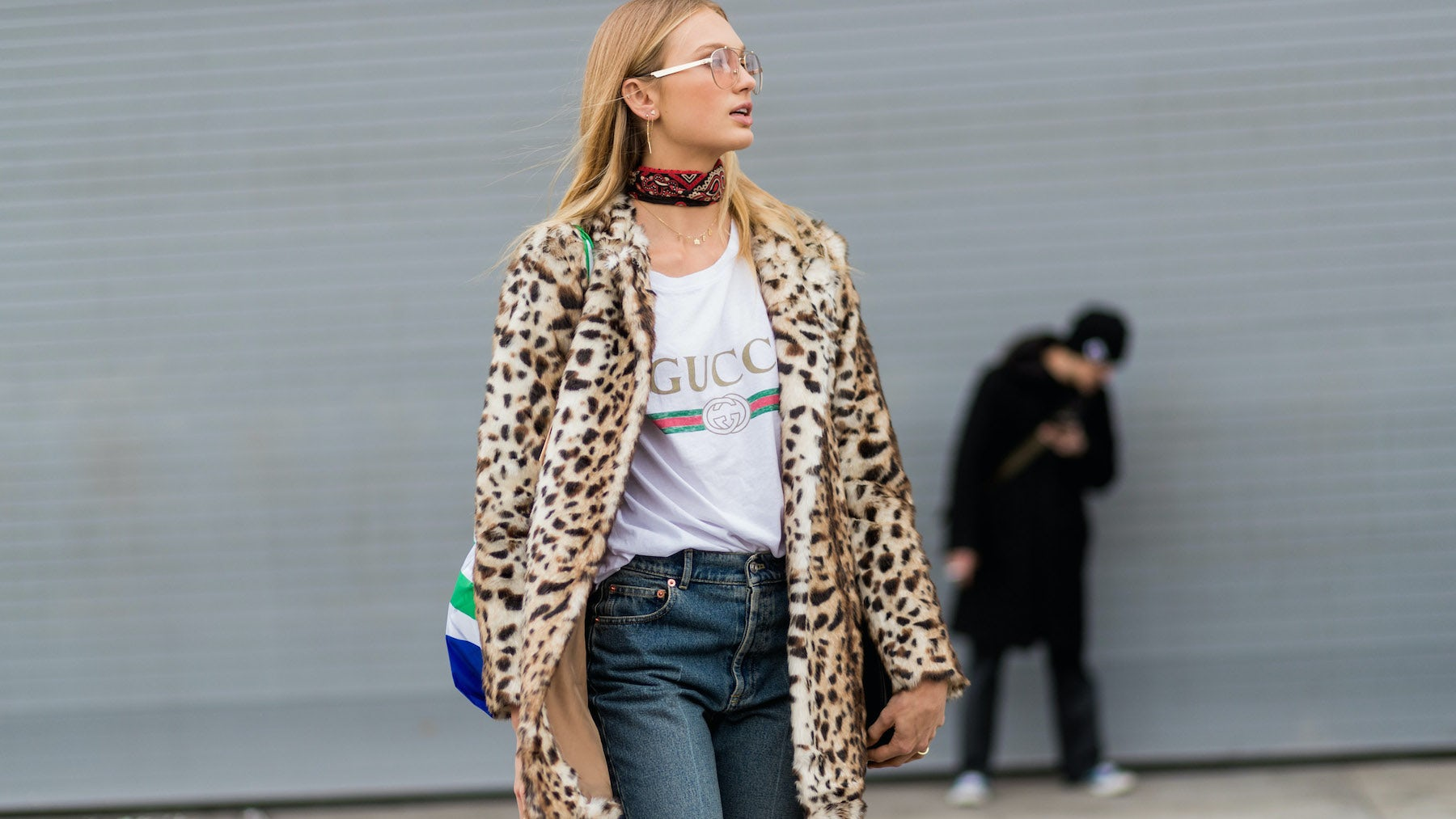 Romee Strijd wearing a Gucci logo T-shirt | Source: Getty Images