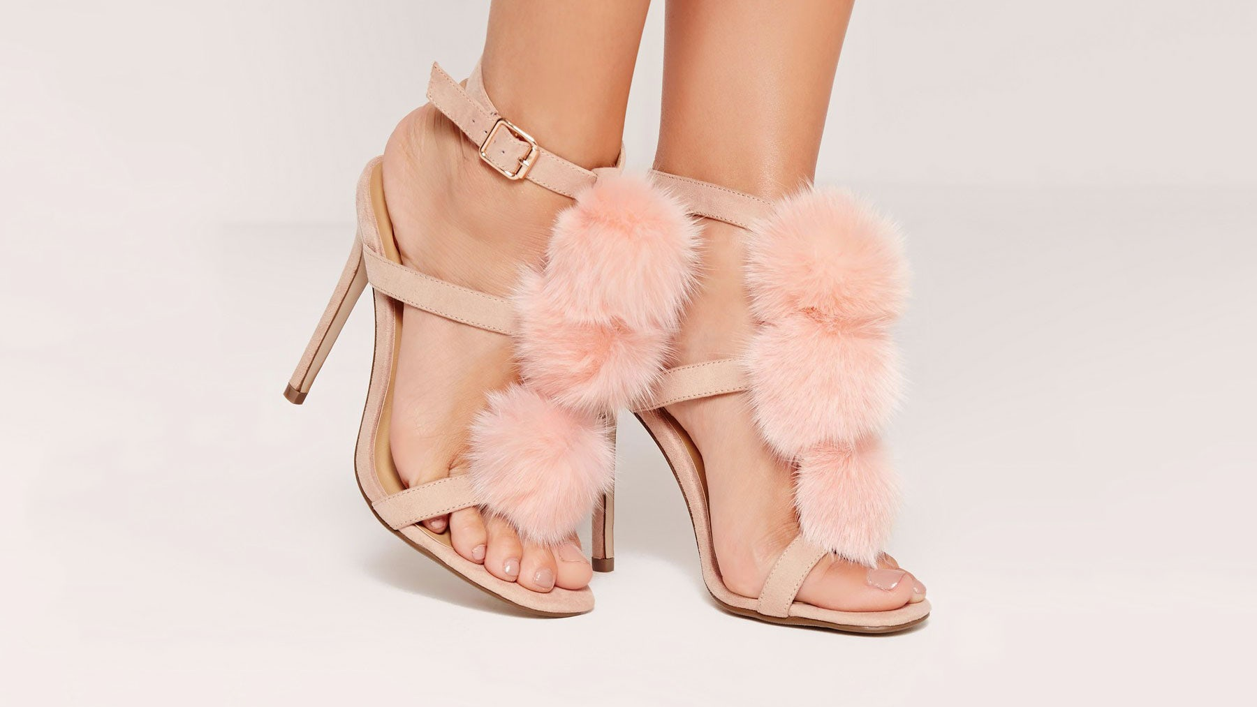 """Missguided Pom Pom T Bar Heeled Sandals advertised as """"faux fur"""" but made with cat fur 
