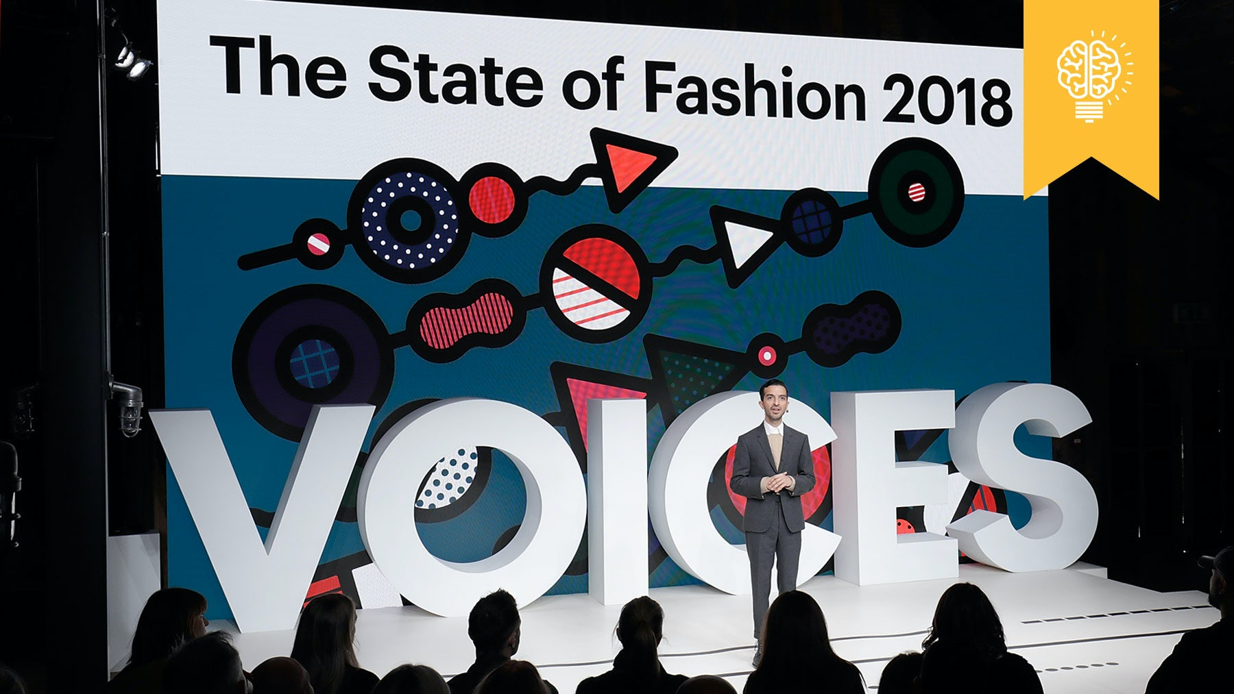 Imran Ahmed on stage at VOICES 2018 | Source: Getty Images