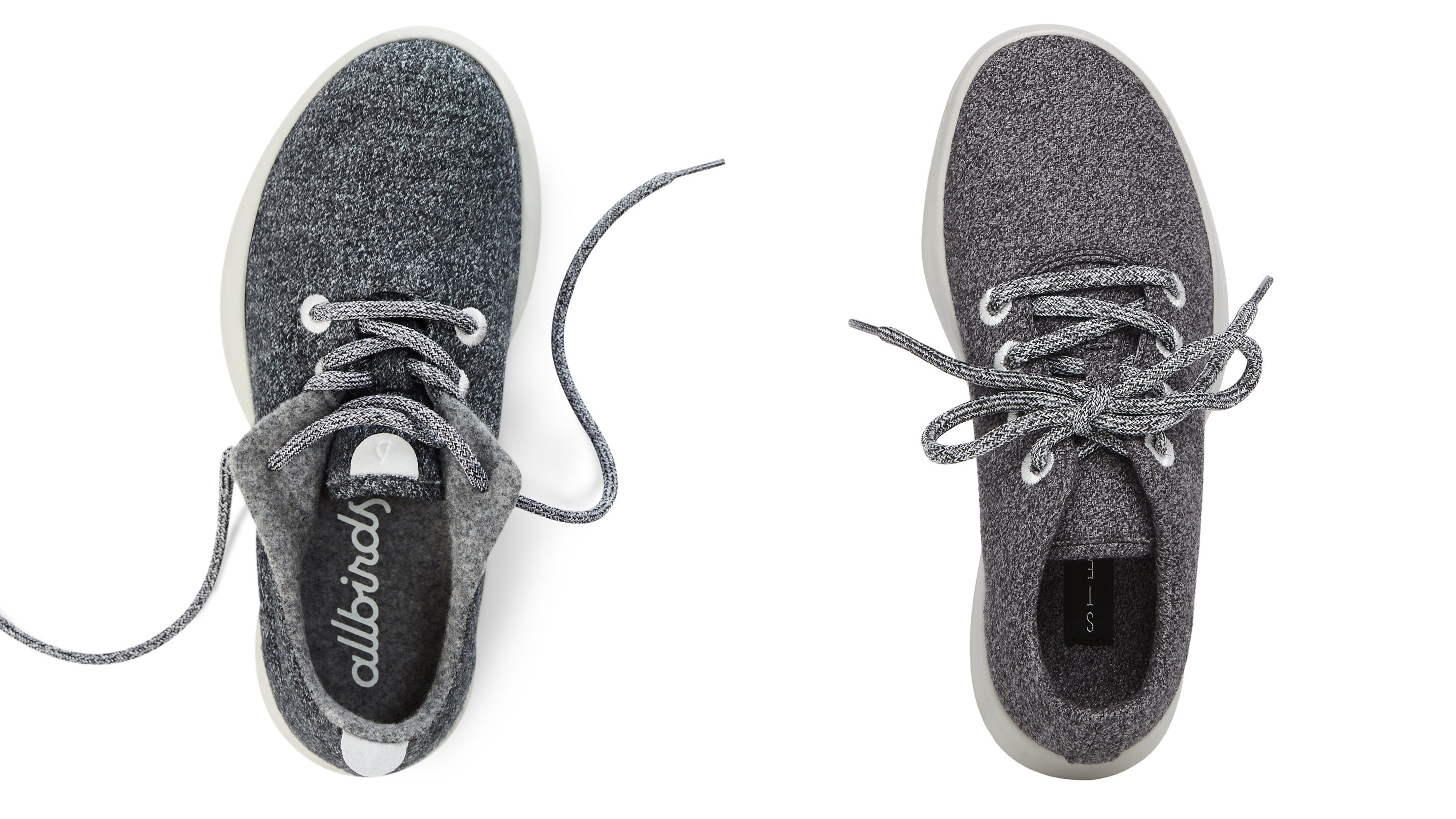 The Allbirds wool runner (left) and Steve by Steve Madden women's traveler sneaker (right) | Source: Courtesy