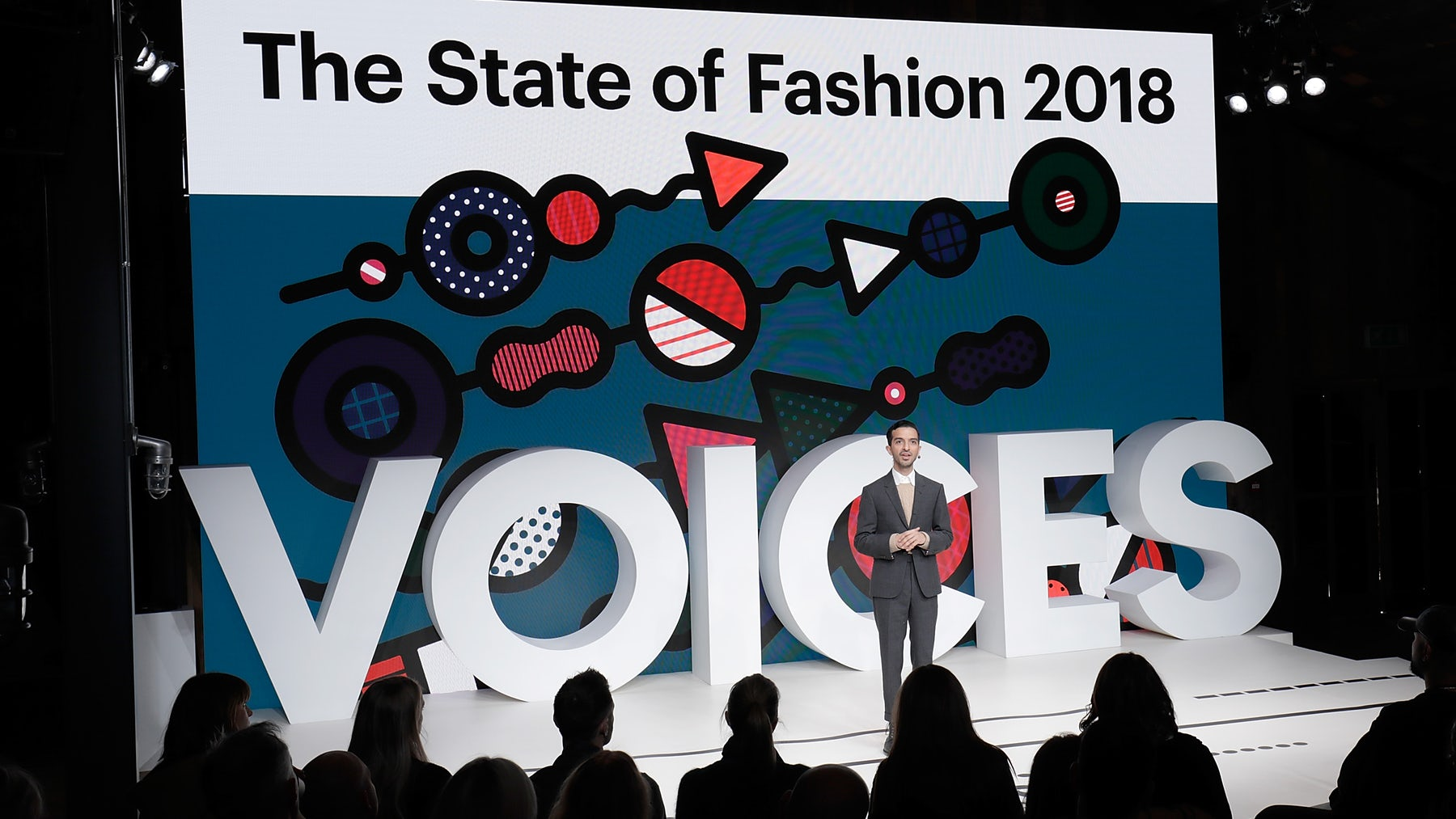 Imran Amed on stage at VOICES 2018 | Source: Getty Images