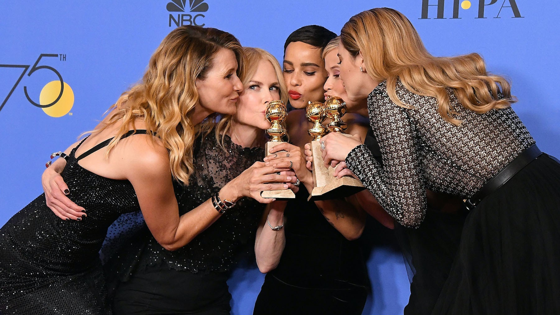 """Big Little Lies"" stars Laura Dern, Nicole Kidman, Zöe Kravitz, Reese Witherspoon and Shailene Woodley pose on the Golden Globes' red carpet 