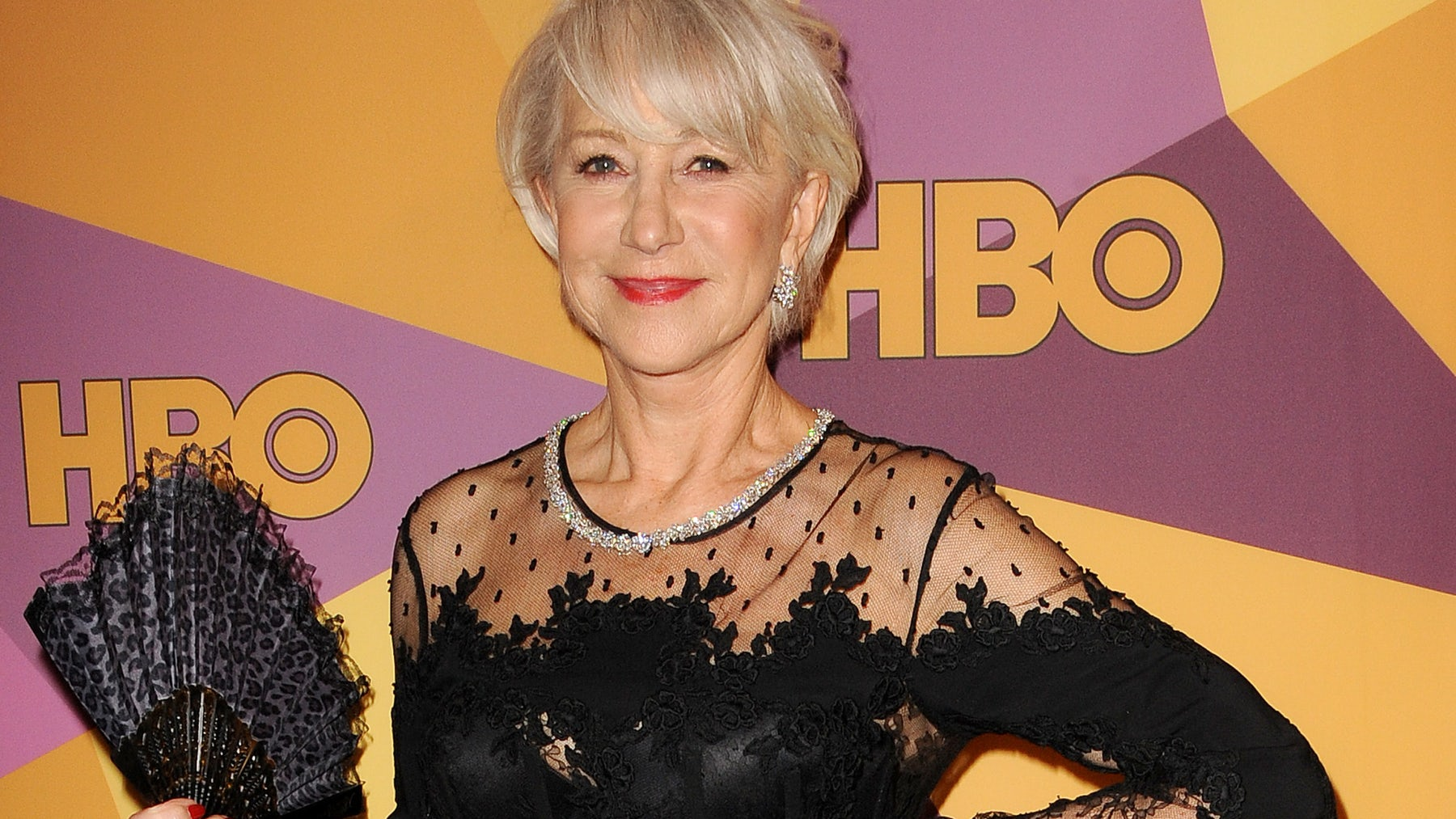 Helen Mirren in all-black at a Golden Globes after party | Source: Shutterstock