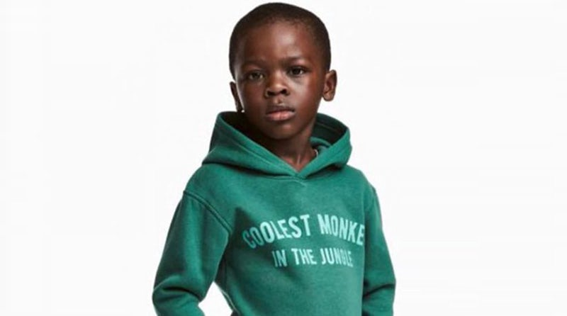 "The H&M sweatshirt says ""coolest monkey in the jungle."" 