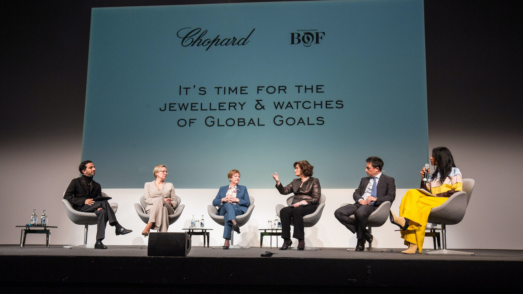 (L-R) Imran Amed, Lena Wendlen, Pamela Gillies, Cherie Blair, Phillipe Fornier, Nöella Coursaris
