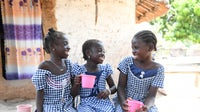 School girls in the North East of Côte d'Ivoire. (L-R) Fanta, Nawa and Karidja. Fanta wants to become a doctor, Nawa a teacher and Karidja a professor   Source: UNICEF/UN061567/Dejongh