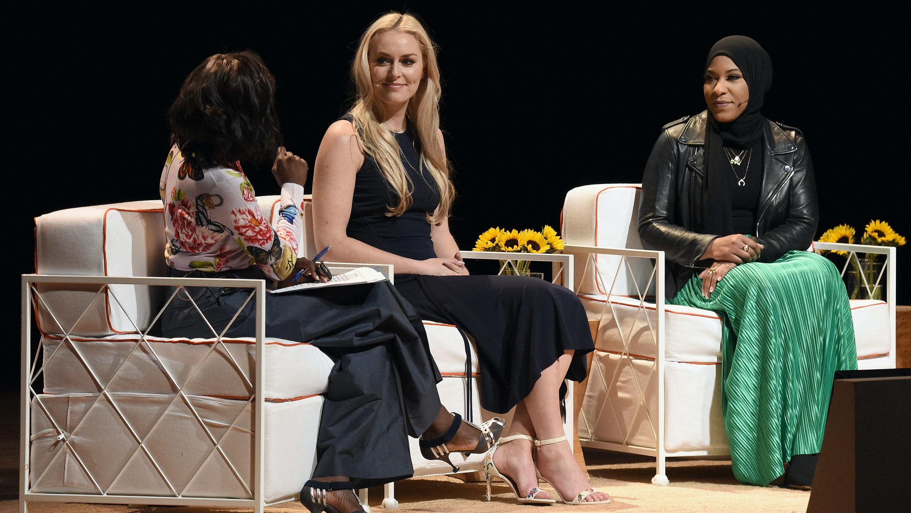 Deborah Roberts, Lindsey Vonn and Ibtihaj Muhammad at The Tory Burch Foundation Embrace Ambition Summit | Source: Nicholas Hunt/Getty Images