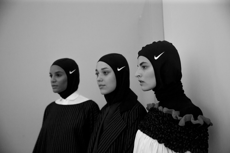 Designer Mashael Alrajhi accessorised with Nike swimming caps