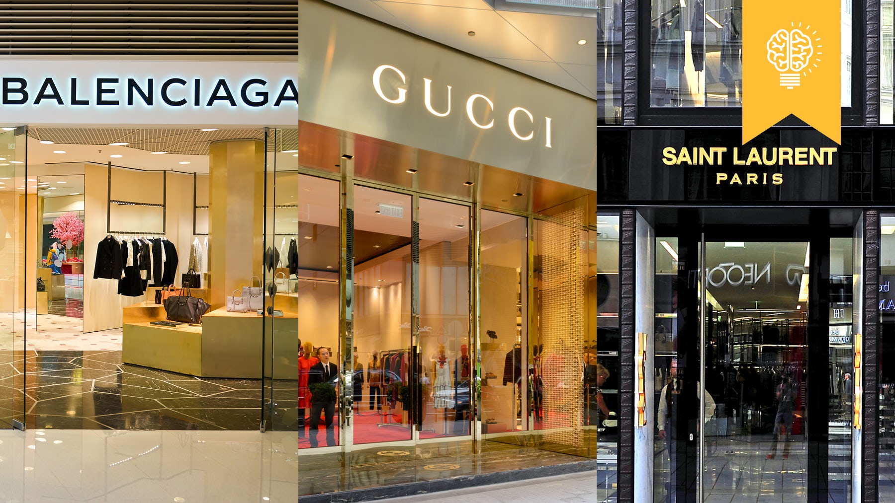 Gucci, Balenciaga and Saint Laurent stores | Source: Shutterstock