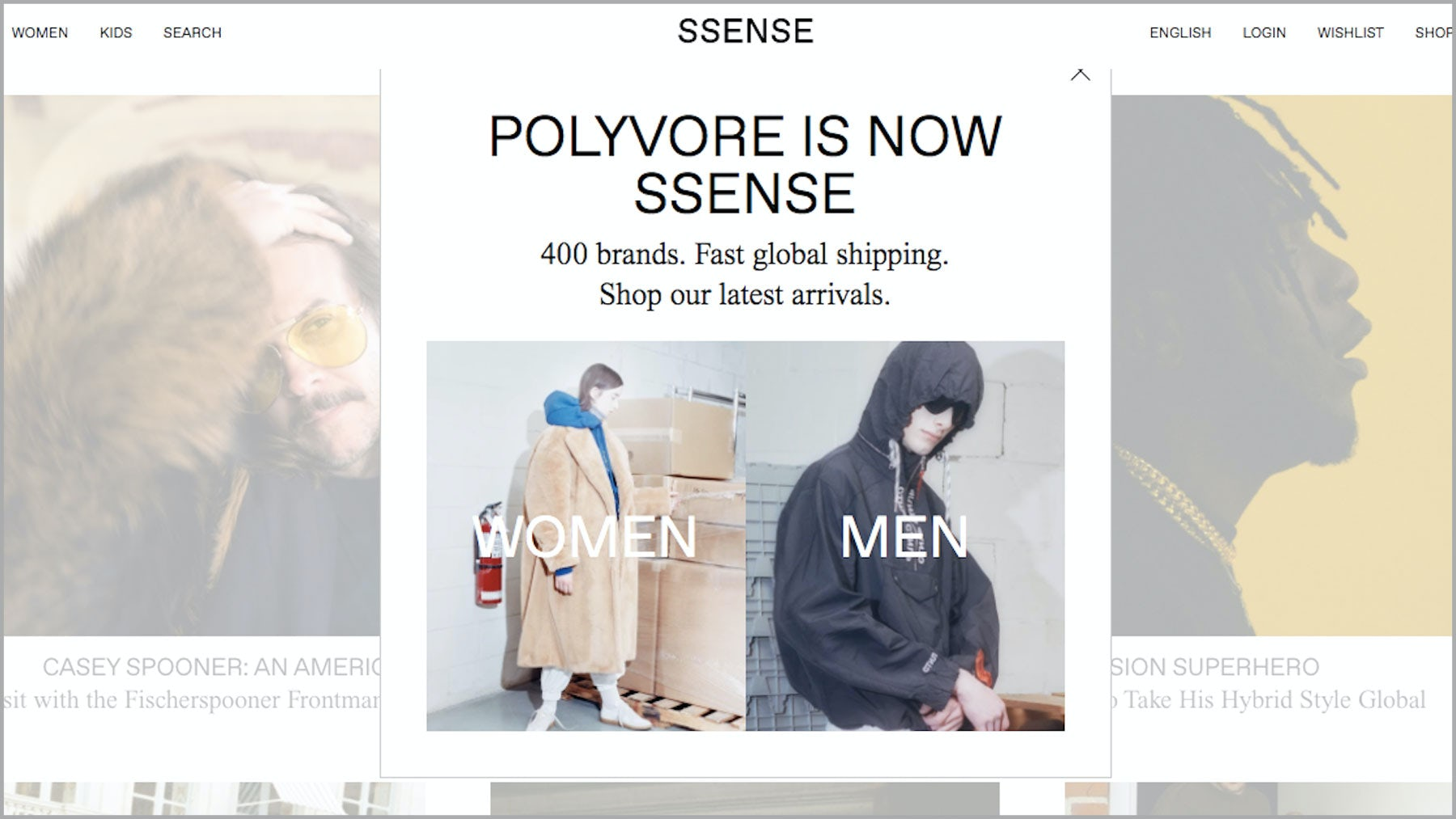 Visitors to Polyvore are taken to a version of the Ssense homepage | Source: Polyvore.com