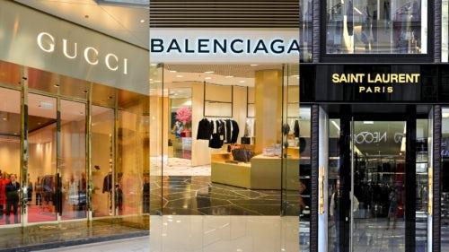 Gucci, Balenciaga and Saint Laurent stores