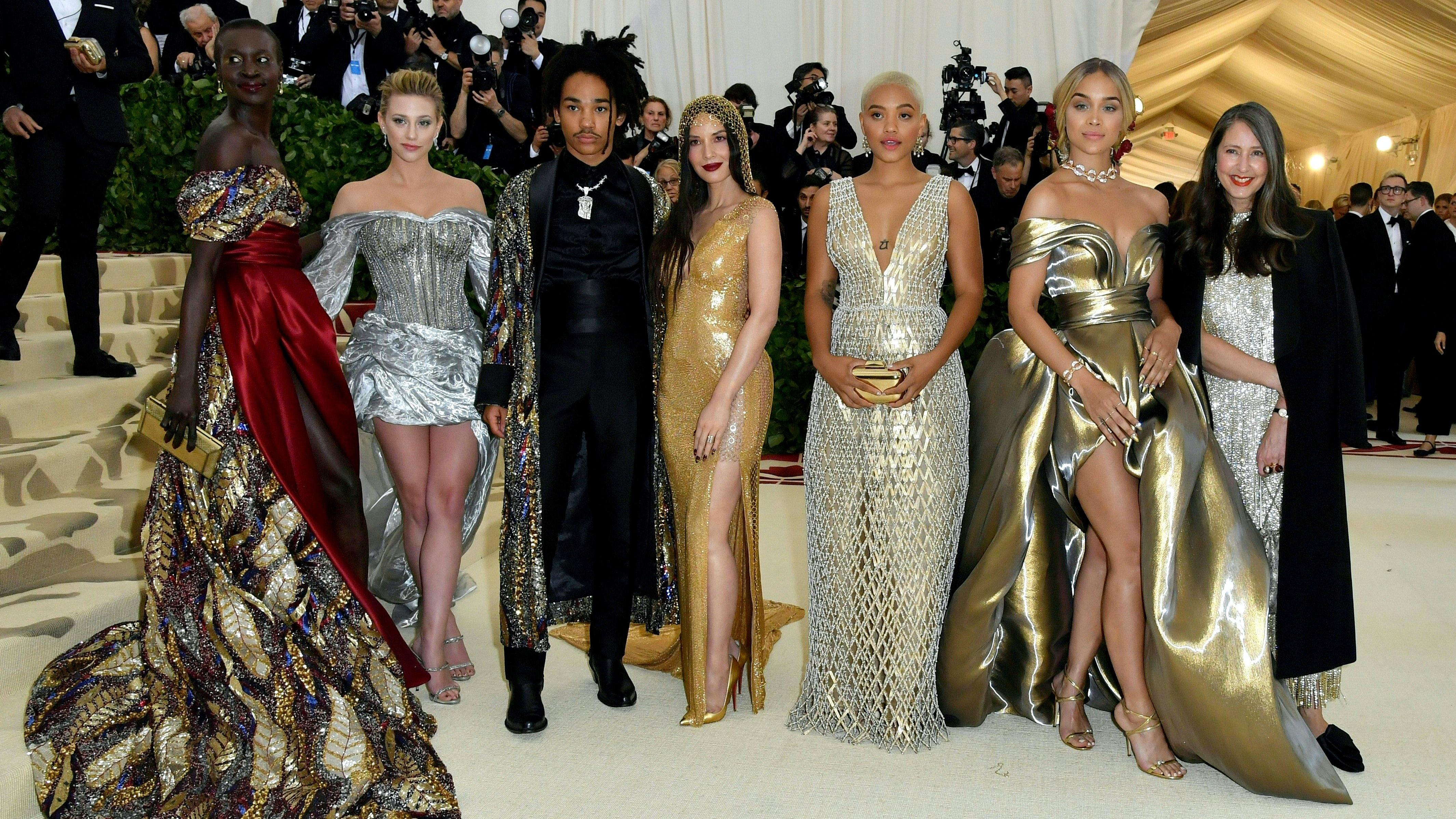 Alek Wek, Lili Reinhart, Luka Sabbat, Olivia Munn, Kiersey Clemons,  Jasmine Sanders, and H&M's Ann-Sofie Johansson at the Met Gala | Source: Angela Weiss/Getty Images