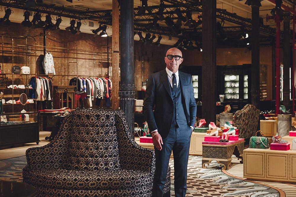 3753cdf3412 Gucci chief executive Marco Bizzarri in the company s newest store in Soho.