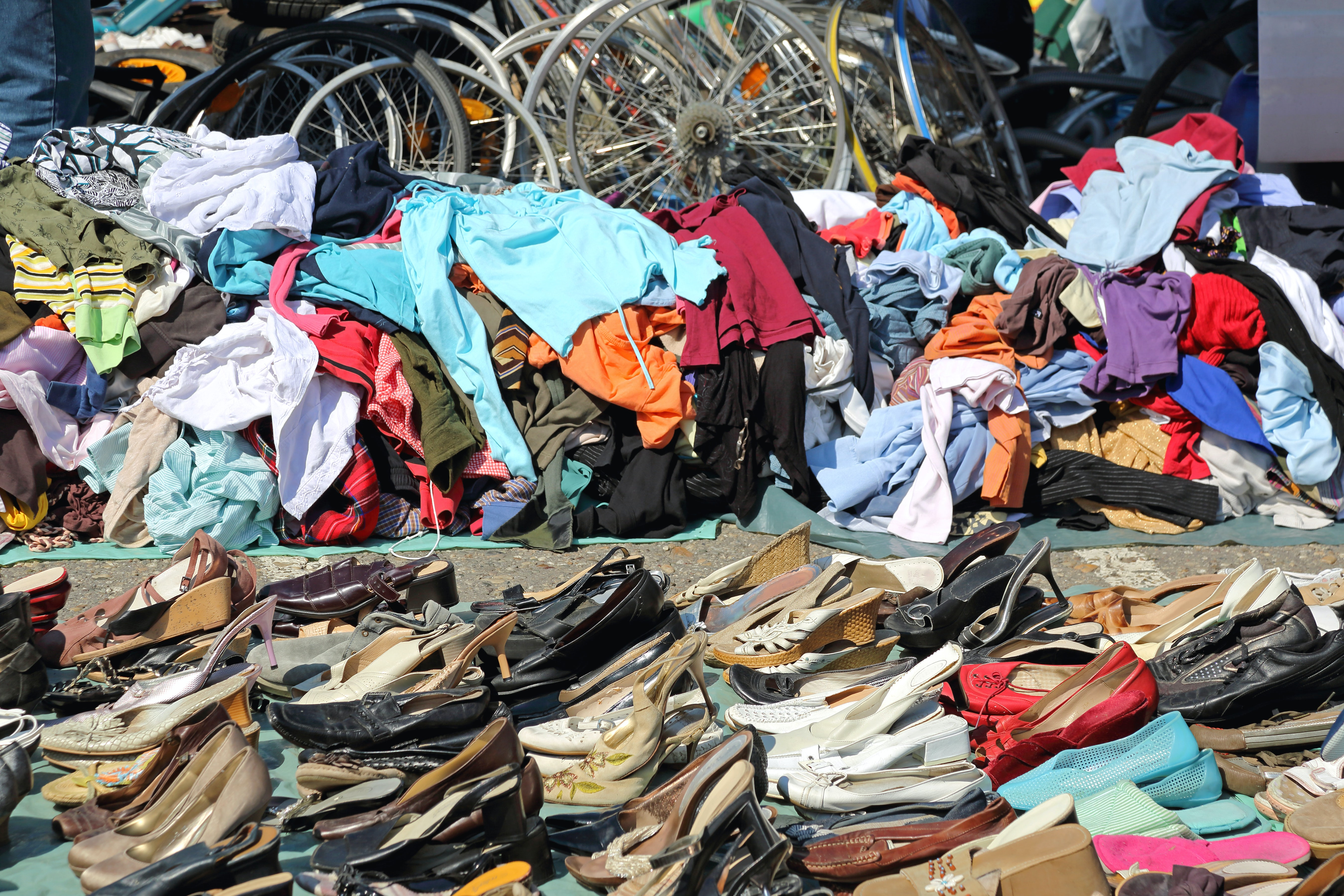 Clothing at a flea market | Source: Shutterstock