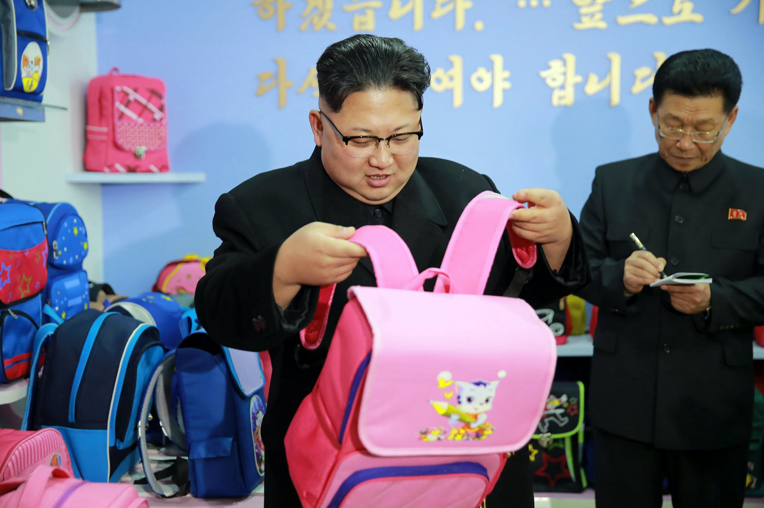 North Korean leader Kim Jong-Un inspecting a Pyongyang bag factory | Source:  Getty