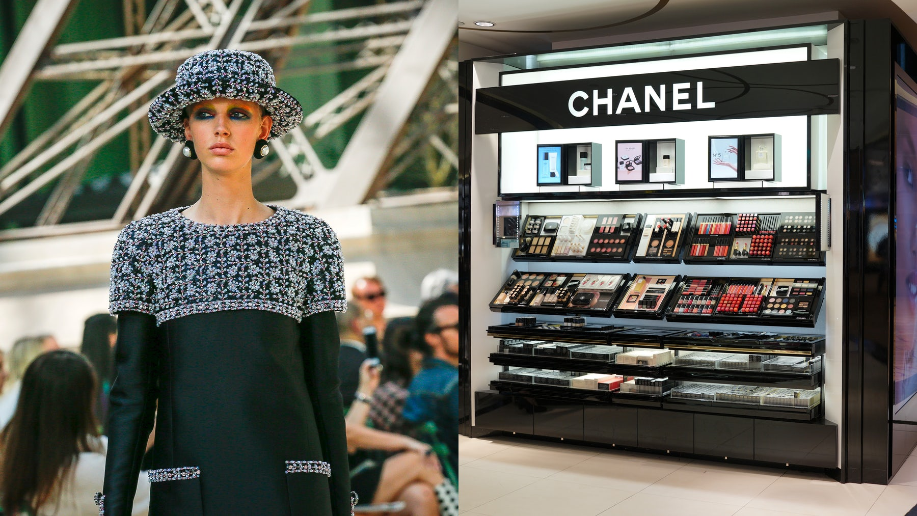 Chanel Autumn/Winter 2017 haute couture show, Chanel beauty counter | Sources: InDigital, Shutterstock