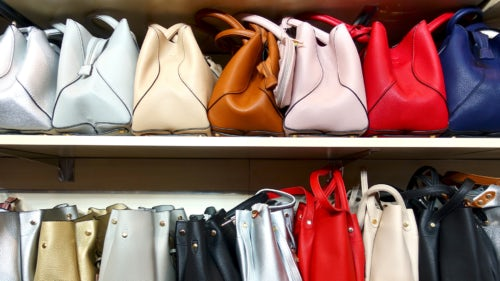 Luxury handbags in a store