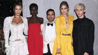 Bella Hadid, Adut Akech, Imran Amed, Gigi Hadid and Troye Sivan at the #BoF500 gala dinner | Source: Dimitrios Kambouris/Getty Images