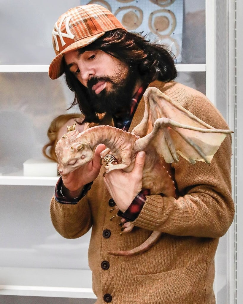 4dab56c2b3c13 Alessandro Michele with a dragon from the Autumn Winter 2018 show, a result  of a collaboration with Makinarium   Source  Instagram Gucci