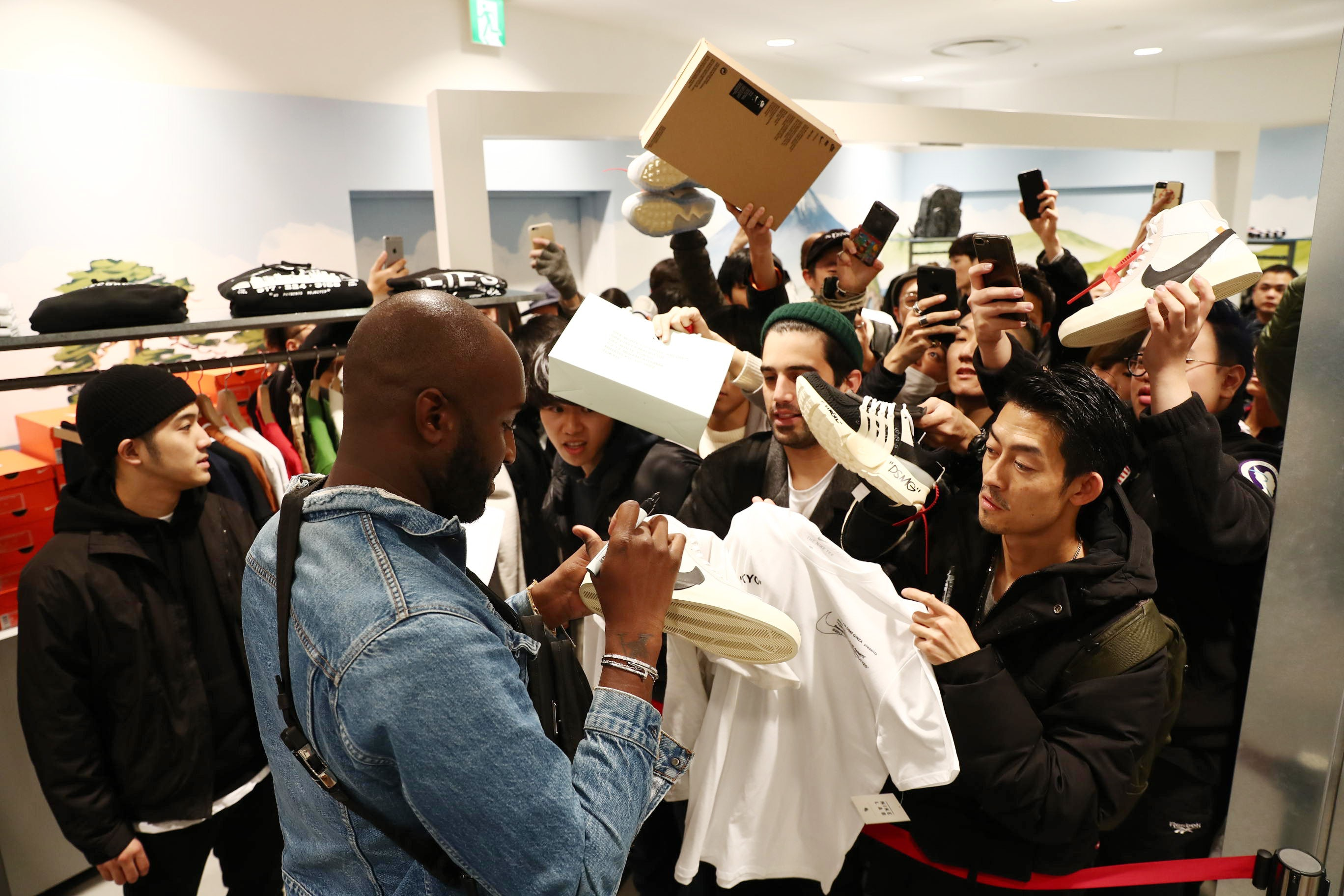 Virgil Abloh at the launch event for his Nike collaboration 'The Ten' at Dover Street Market Ginza in Tokyo | Source: Courtesy