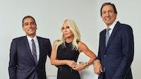 Versace CEO Akeroyd, creative director Donatella Versace and Capri Holdings CEO Idol | Photo: Courtesy