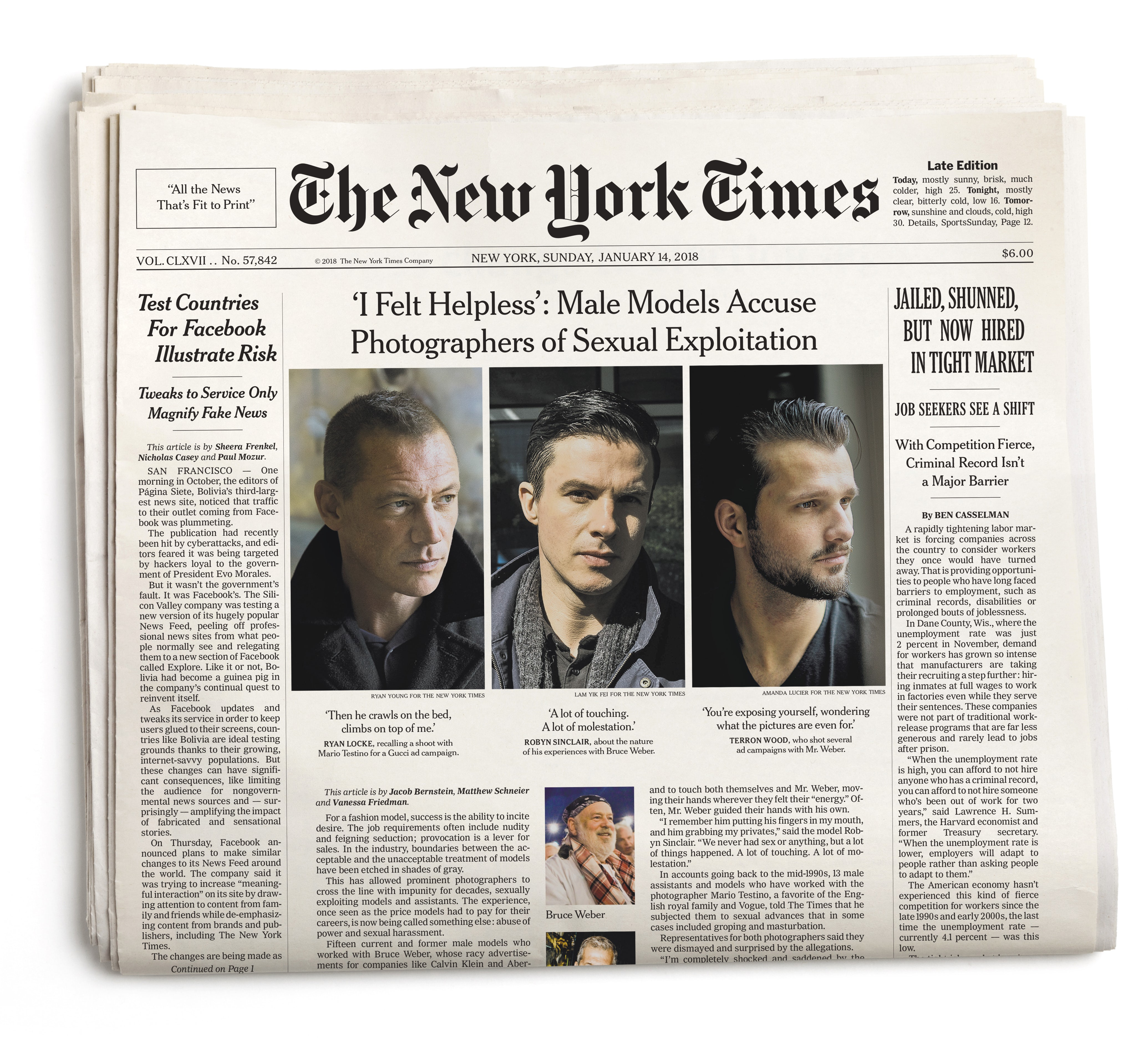 The front page of The New York Times' Sunday edition