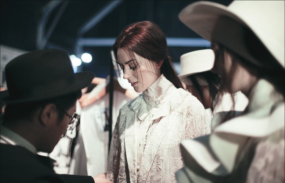 Backstage at Ban Xiao Xue during Shanghai Fashion Week | Photo by Lolita Sharun for YYO Foundation
