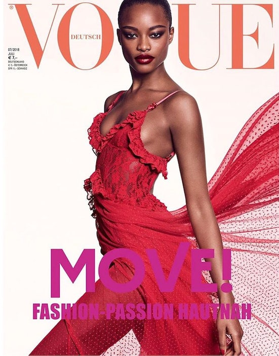 Mayowa Nicholas on the cover of Vogue Germany July 2018