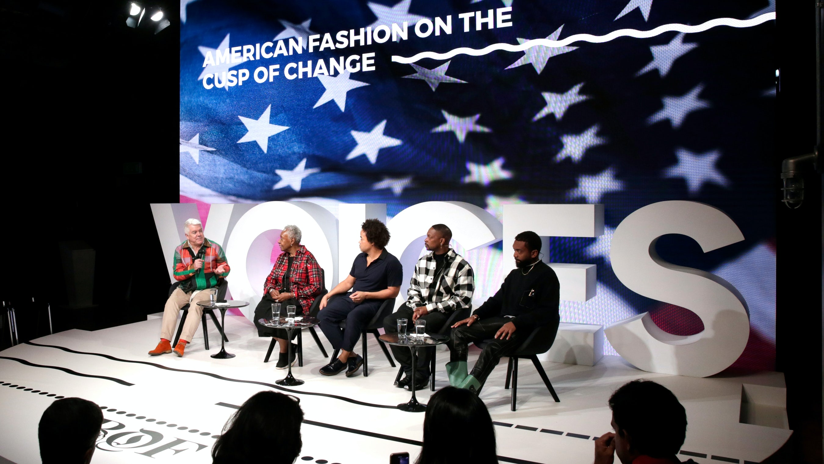 Left to right: Tim Blanks, Bethann Hardison, Patrick Robinson, LaQuan Smith and Kerby Jean-Raymond | Source: Getty Images for The Business of Fashion
