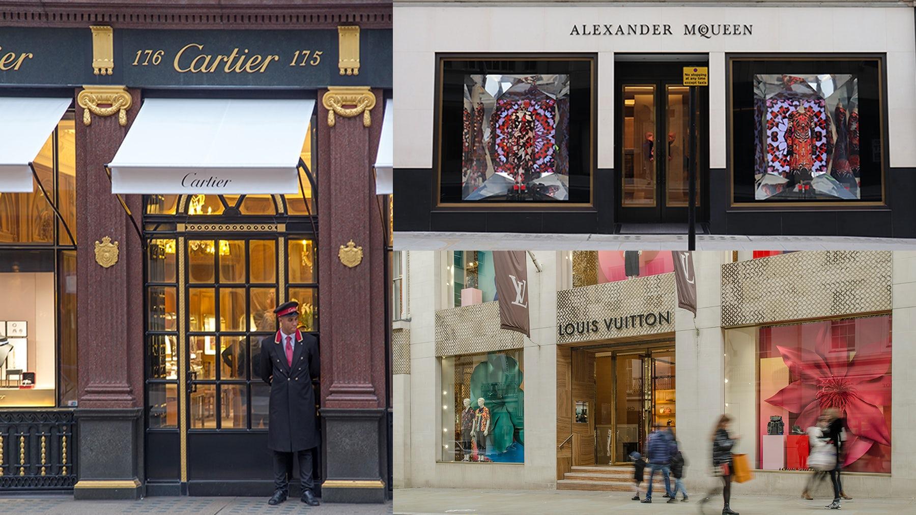 Cartier, Alexander McQueen and Louis Vuitton stores on Bond Street | Source: Shutterstock