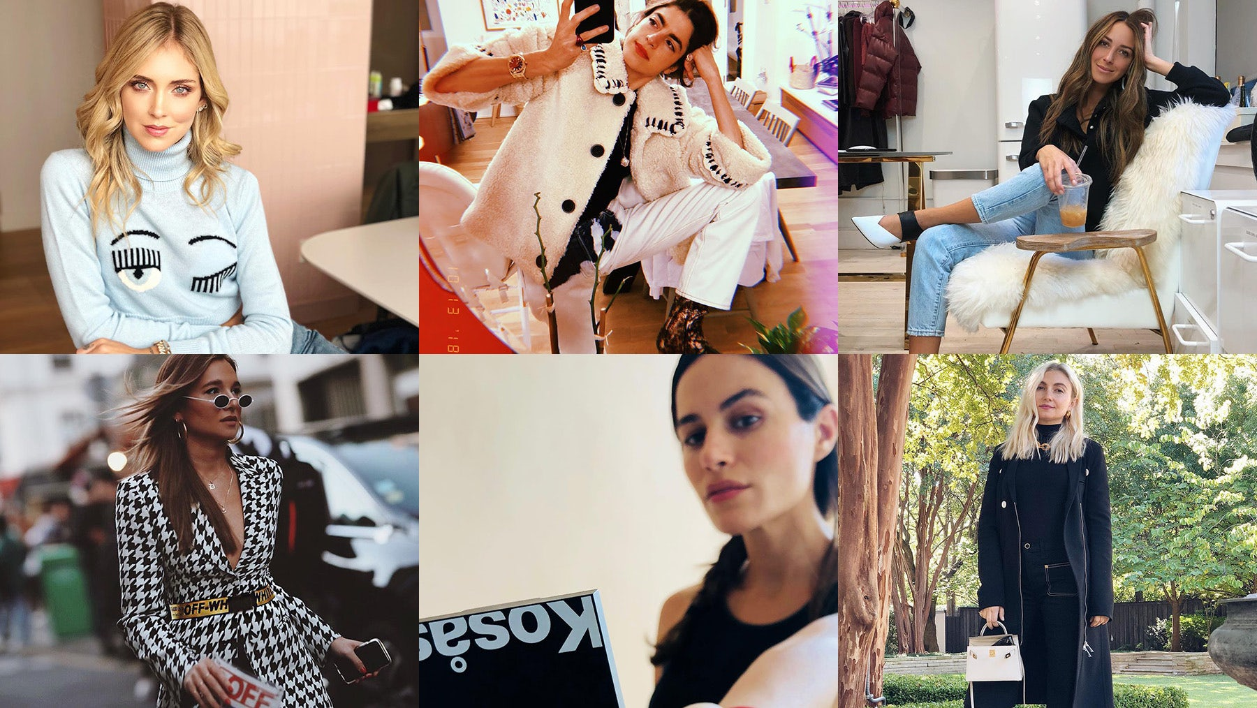 Image sources, clockwise from top left: @chiaraferragni, @leandramcohen, @ariellecharnas, @naseebs, @sheenayaitanes and @leandramcohen