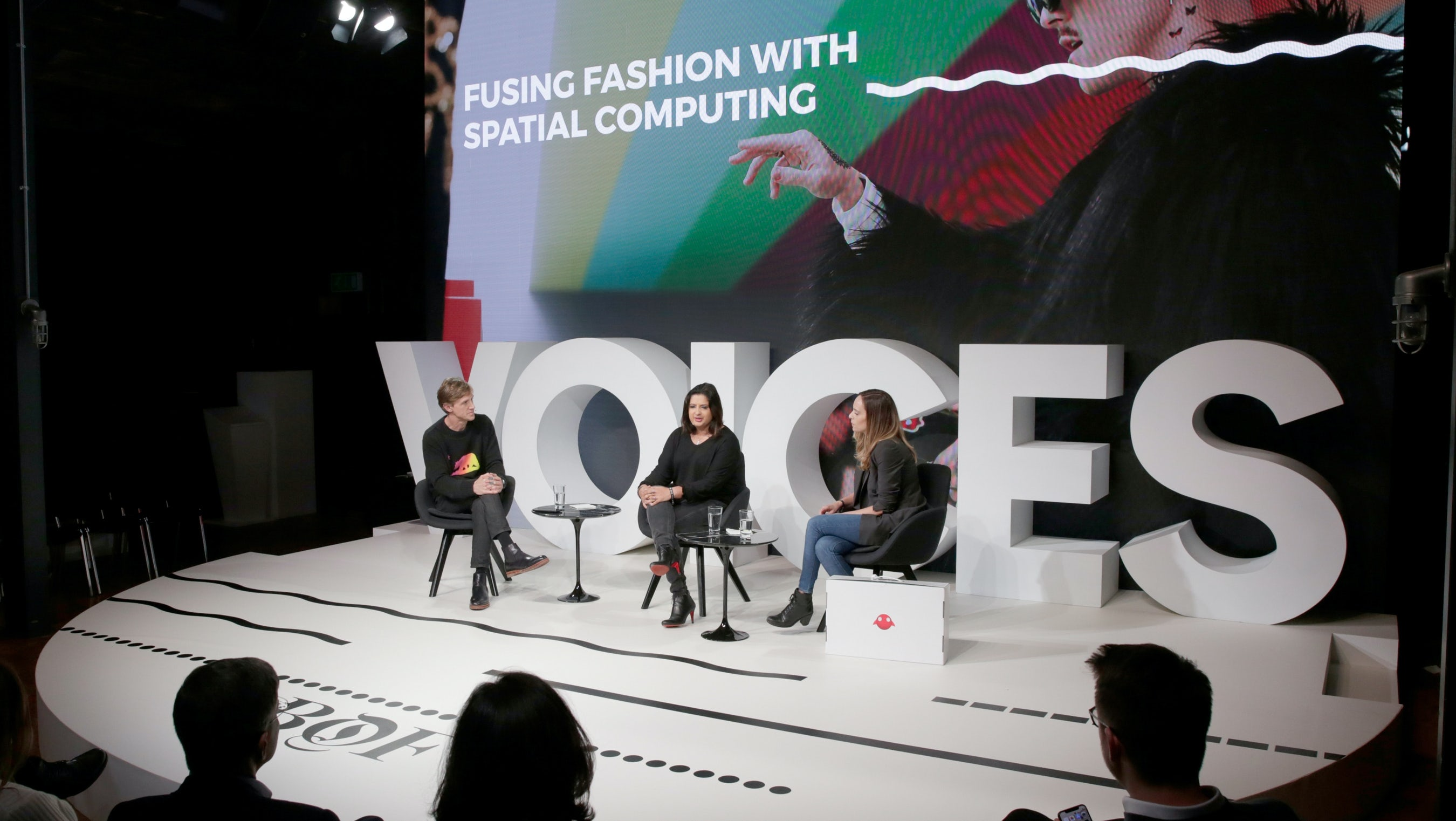 Left to right: Ian Rogers, Rachna Bhasin and Rebecca Barkin | Source: Getty Images for The Business of Fashion