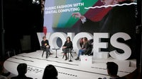 Left to right: Ian Rogers, Rachna Bhasin and Rebecca Barkin   Source: Getty Images for The Business of Fashion