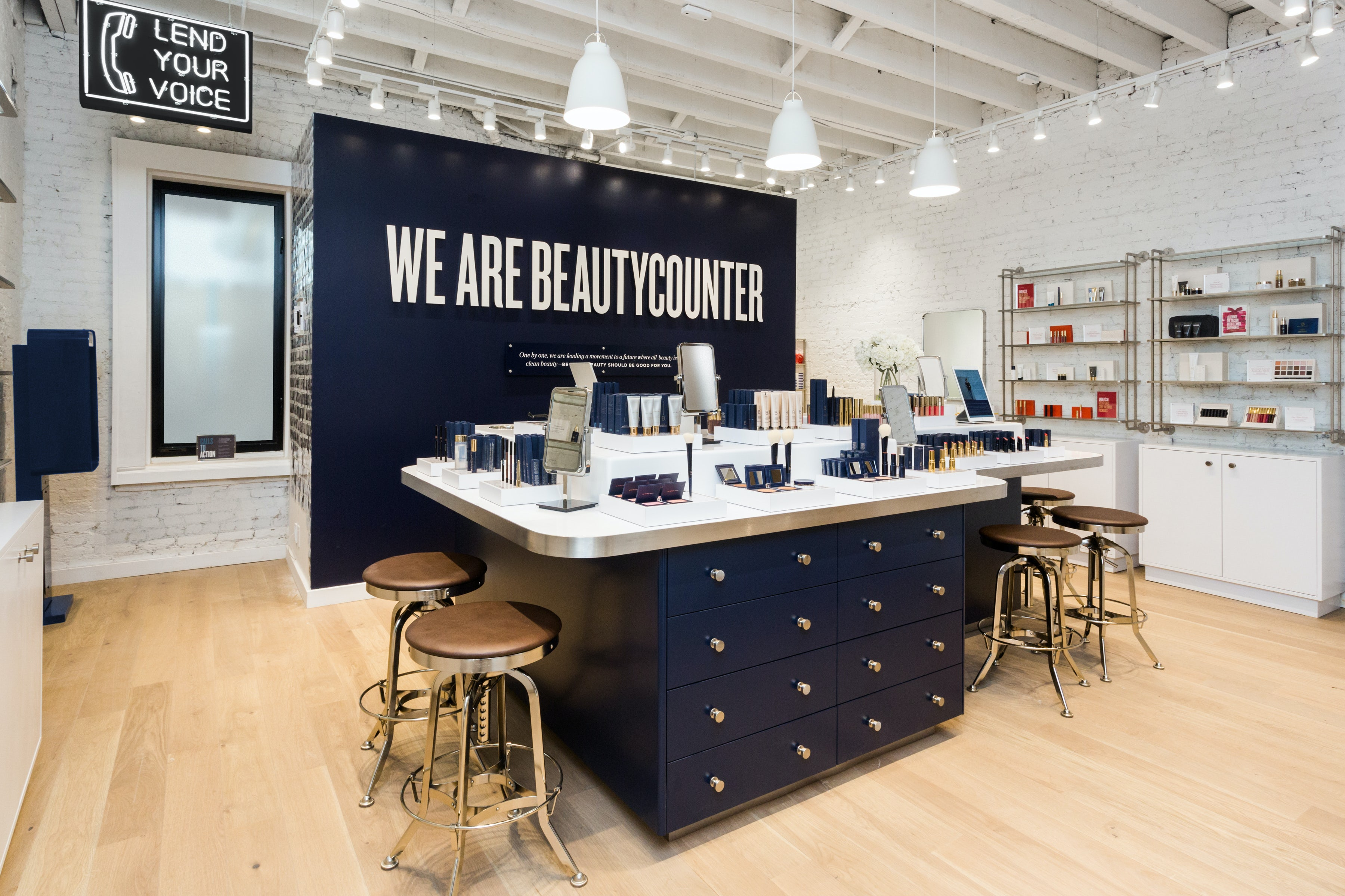 Inside Beautycounter's first store in New York City.