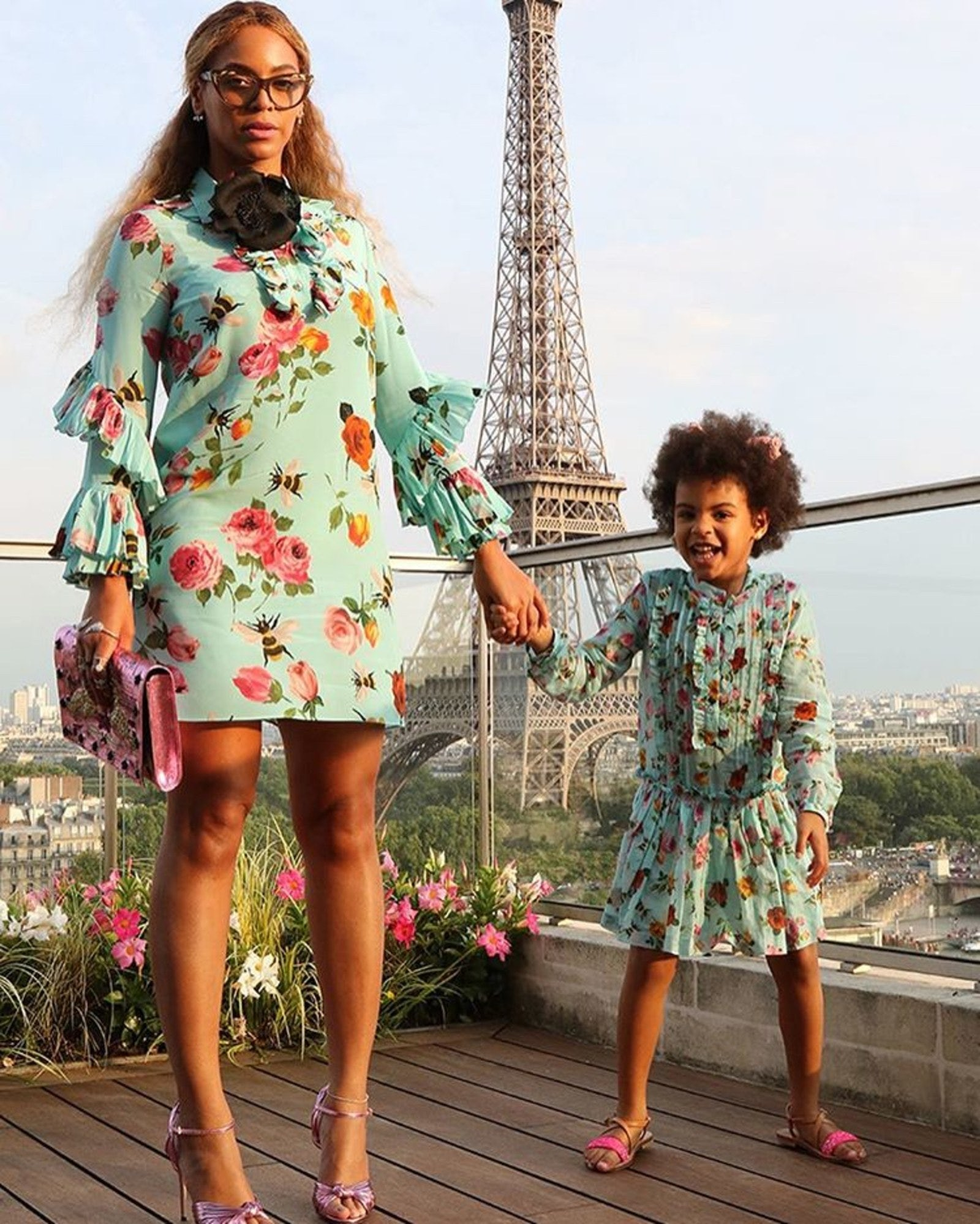Beyoncé and Blue Ivy in matching Gucci