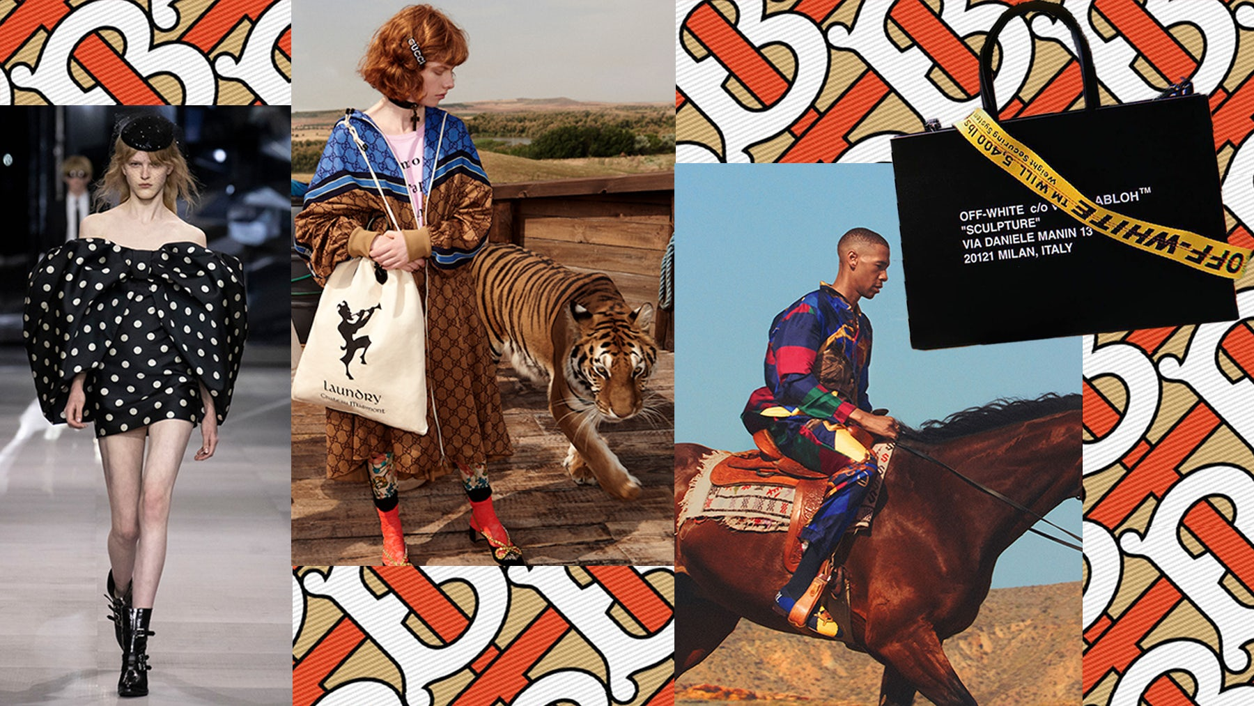 "Left to right: Hedi Slimane for Celine, Burberry logo by Riccardo Tisci, Gucci Cruise 2019 campaign, Palace X Ralph Lauren Lookbook, Off-White ""Box Bag"" 