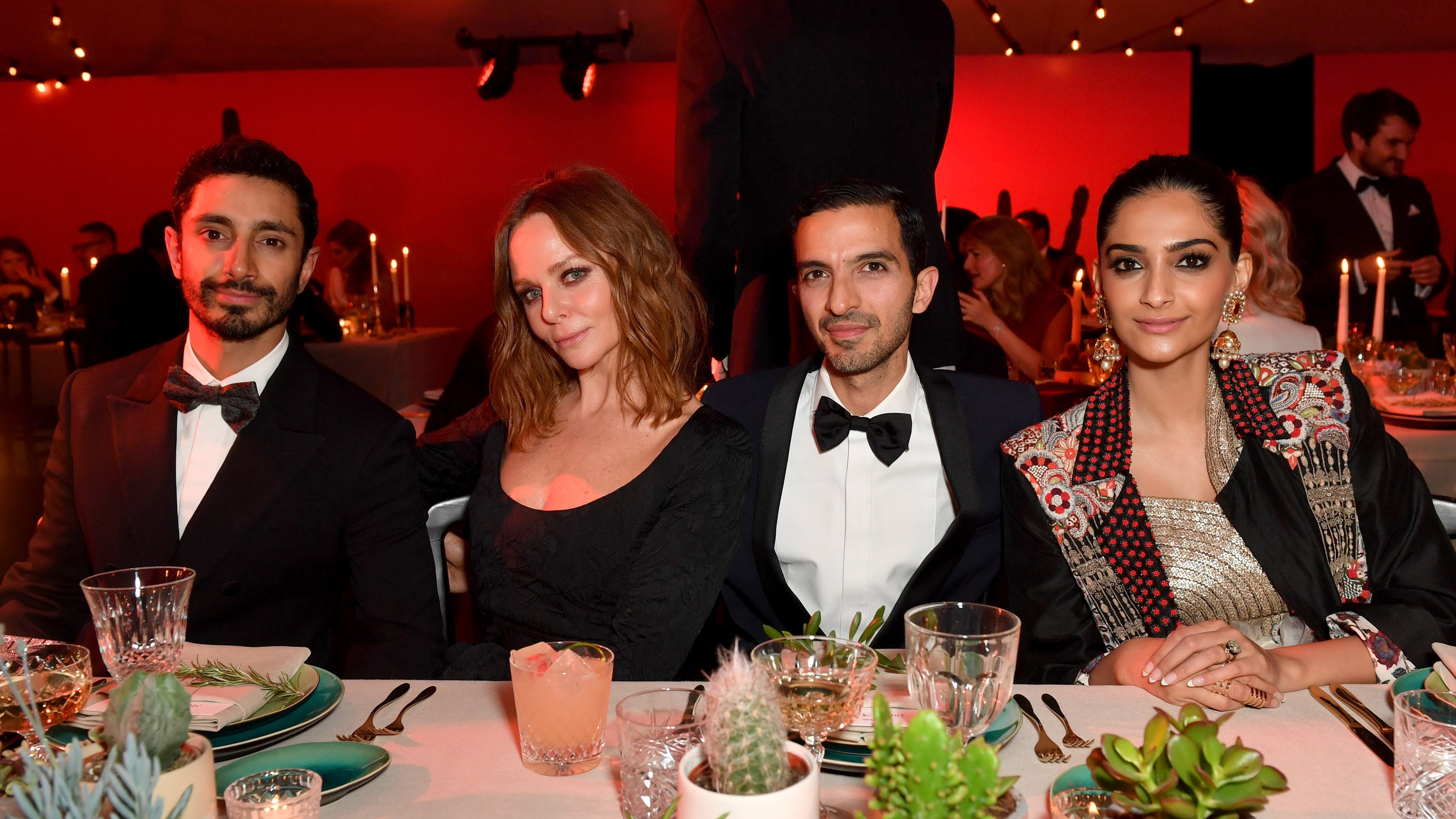 Riz Ahmed, Stella McCartney, Imran Amed and Sonam Kapoor Ahuja attend the VOICES gala dinner | Source: Samir Hussein/Getty Images