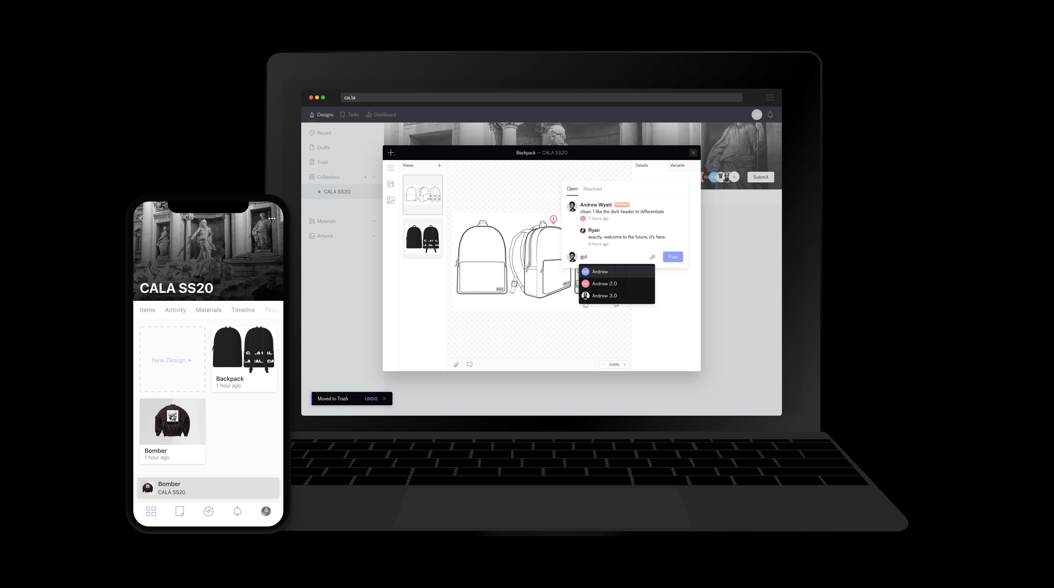 Supply chain platform Cala's user interface   Source: Courtesy