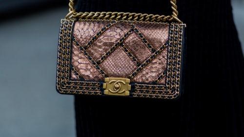 A Chanel python handbag