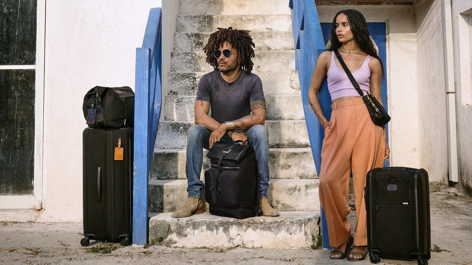 Lenny and Zoë Kravitz in Tumi campaign | Source: Courtesy