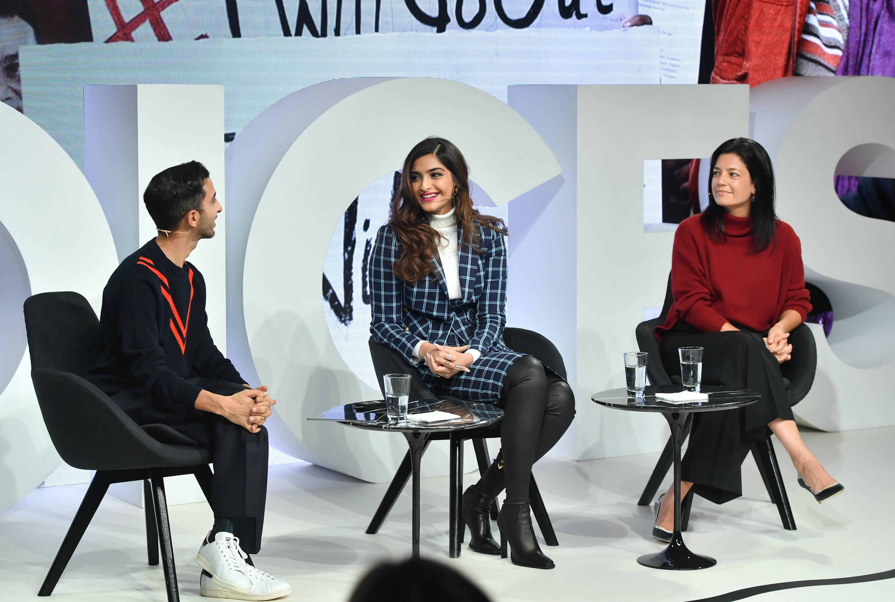 Imran Amed, Sonam Kapoor Ahuja and Karla Bookman speak on stage during #BoFVOICES
