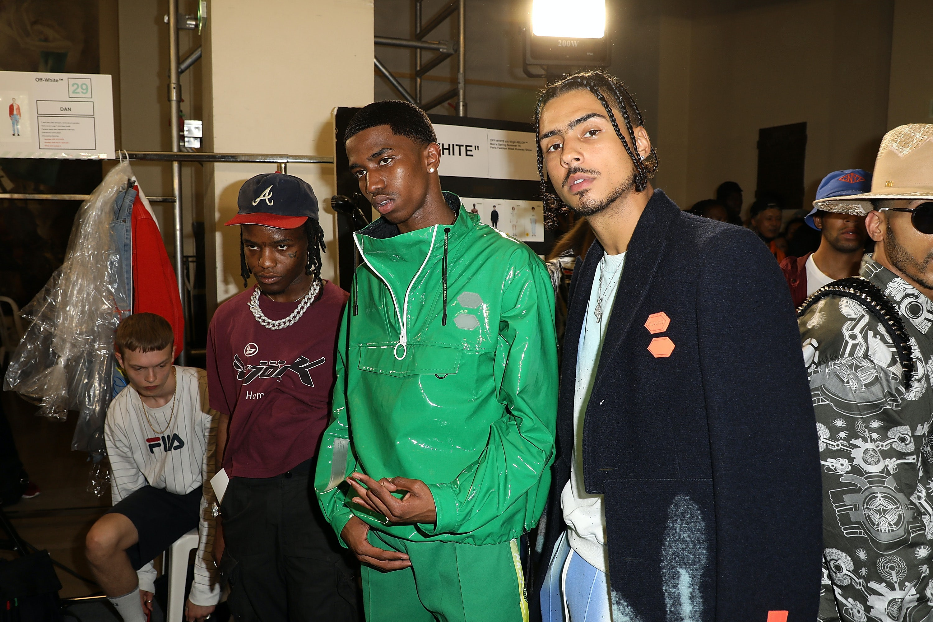 6dbb515c5d205 Ian Connor (far left) backstage after the Off-White Menswear SS19 show