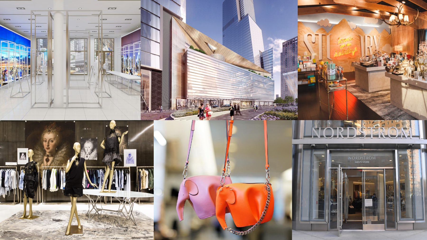 (L-R) The Carousel at Bloomingdales; Neiman Marcus; Macy's-owned Story concept store; The Advance at Saks Fifth Avenue; Loewe at Barneys; Nordstrom Men's Store | Sources: Courtesy, Instagram.