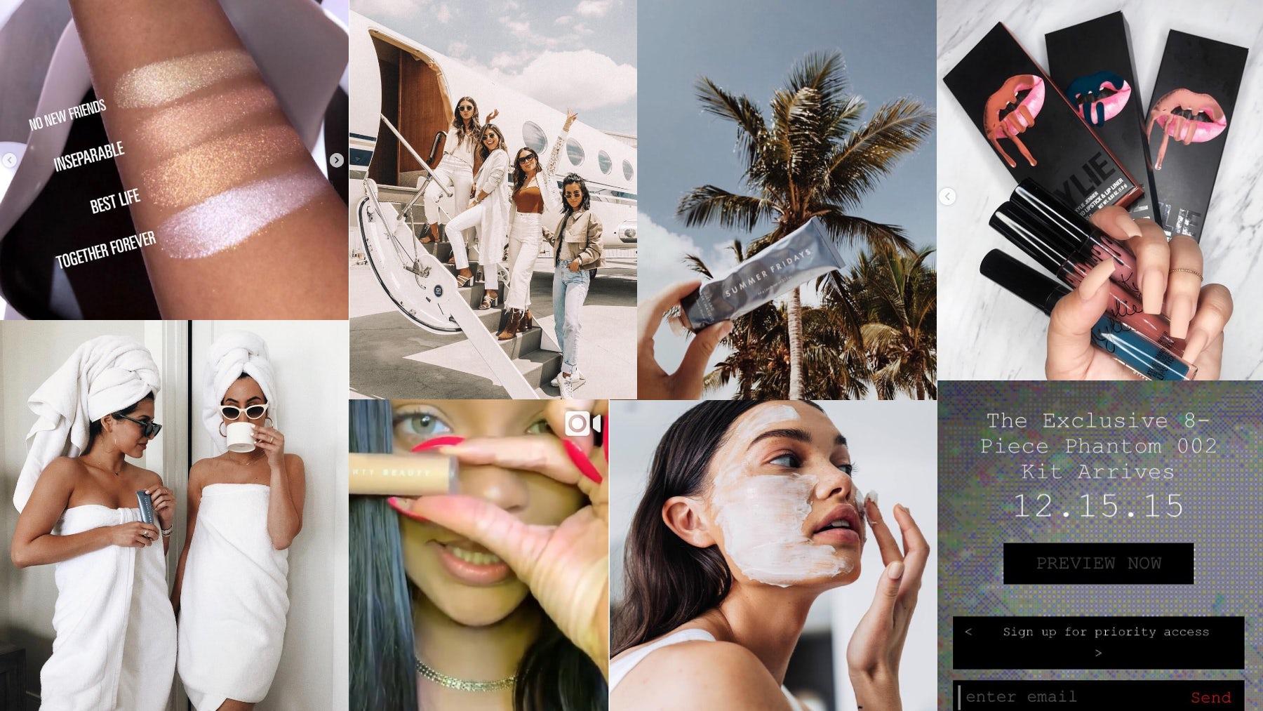 Beauty Instagram marketing   Source: Instagram (Kylie Cosmetics, Summer Fridays, Fenty Beauty, Pat McGrath Labs); collage by BoF.