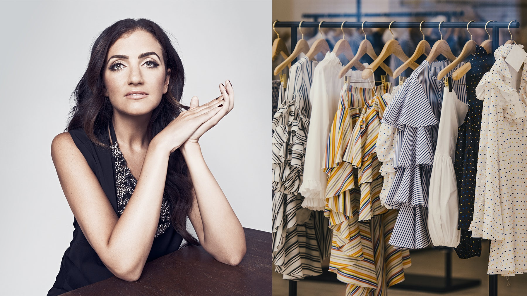 Jennifer Hyman; Clothes hanging up in a boutique | Source: Courtesy; Shutterstock
