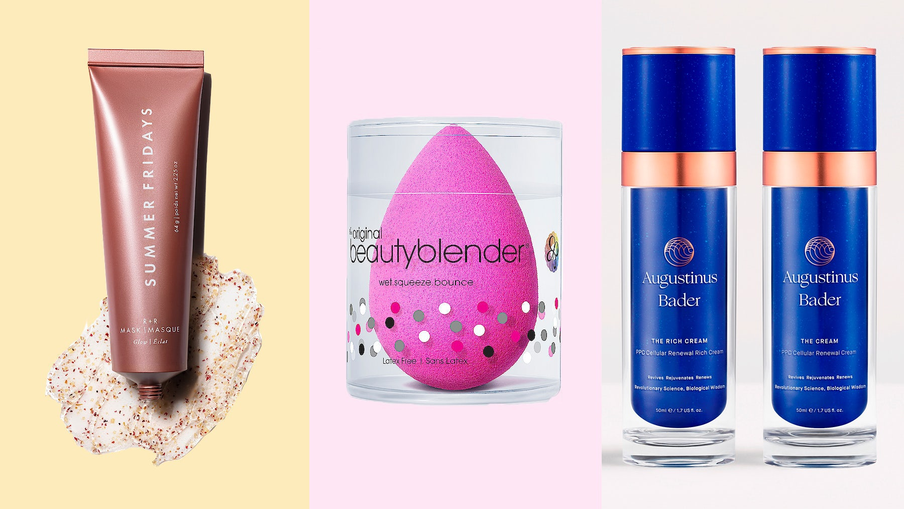 Summer Fridays R+R Mask, BeautyBlender and Augustinus Bader | Source: Courtesy