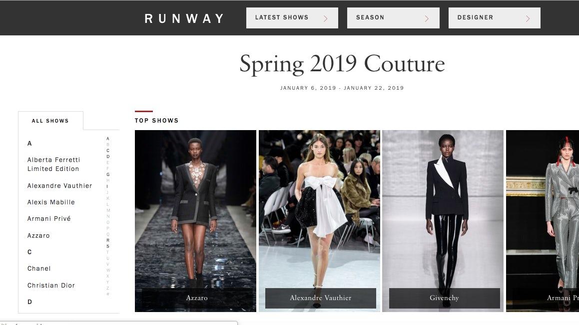 Vogue Runway   Screenshot: Vogue.com/fashion-shows