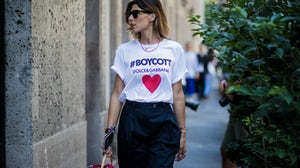 A guest outside Dolce & Gabbana's show in Milan | Source: Getty Images